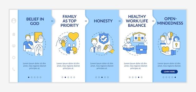 Modèle vectoriel d'intégration de la morale personnelle. site web mobile réactif avec des icônes. écrans de présentation de page web en 5 étapes. équilibre sain entre vie professionnelle et vie privée, croyance dans le concept de couleur divine avec des illustrations linéaires