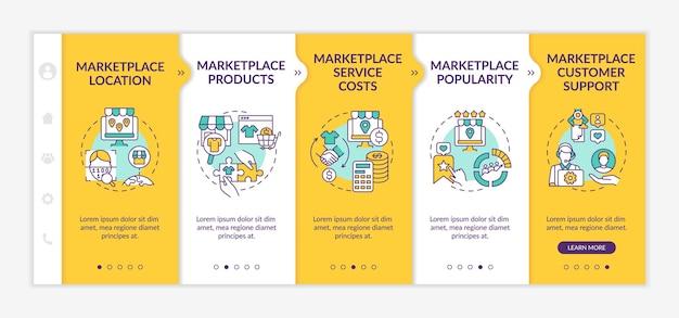 Modèle vectoriel d'intégration des paramètres de choix de la place de marché. site web mobile réactif avec des icônes. écrans de présentation de page web en 5 étapes. coûts du service, concept de couleur des produits avec illustrations linéaires
