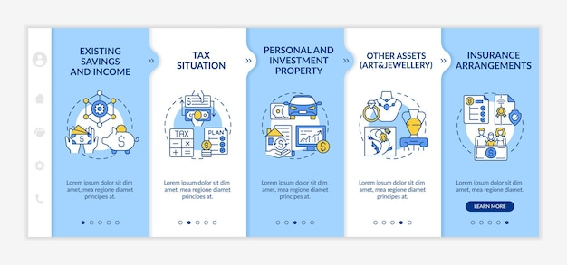 Modèle vectoriel d'intégration de pièces de plan de richesse étendu. site web mobile réactif avec des icônes. écrans de présentation de page web en 5 étapes. concept de couleur d'immeuble d'investissement personnel avec illustrations linéaires