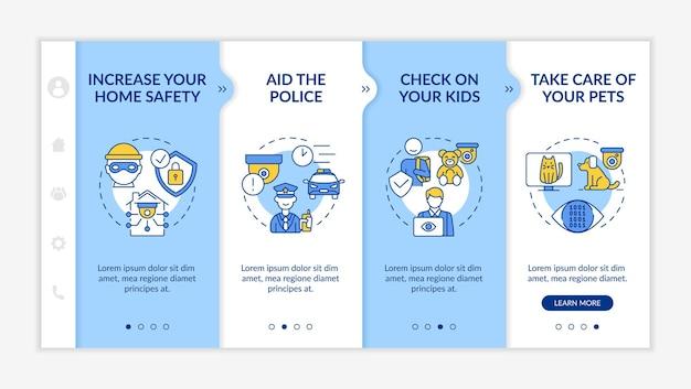 Modèle vectoriel d'intégration des professionnels de l'observation des ménages. site web mobile réactif avec des icônes. présentation de la page web en 4 étapes. concept de couleur des systèmes de sécurité à domicile avec des illustrations linéaires