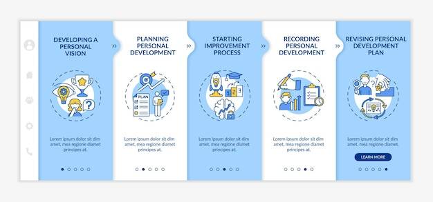 Modèle vectoriel d'intégration de progrès de développement personnel. site web mobile réactif avec des icônes. écrans de présentation de page web en 5 étapes. concept de couleur d'auto-amélioration avec des illustrations linéaires