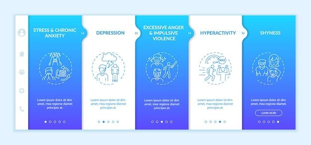 Modèle vectoriel d'intégration de la psychologie du développement de la maîtrise de soi. site web mobile réactif avec des icônes. écrans de présentation de page web en 5 étapes. concept de couleur de santé mentale avec des illustrations linéaires