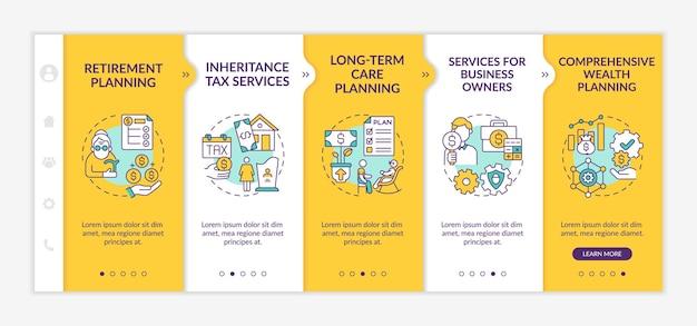 Modèle vectoriel d'intégration des services de contrôle de patrimoine. site web mobile réactif avec des icônes. écrans de présentation de page web en 5 étapes. concept de couleur des services d'impôt sur les successions avec des illustrations linéaires