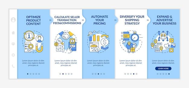 Modèle vectoriel d'intégration de succès sur le marché en ligne. site web mobile réactif avec des icônes. écrans de présentation de page web en 5 étapes. calcul des frais, concept de couleur des commissions avec illustrations linéaires