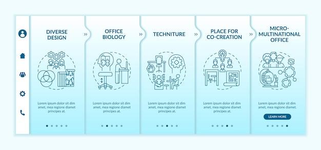 Modèle vectoriel d'intégration des tendances de l'espace de travail. site web mobile réactif avec des icônes. écrans de présentation de page web en 5 étapes. biologie de bureau, concept de couleur de lieu de co-création avec illustrations linéaires