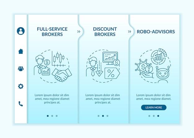 Modèle vectoriel d'intégration des types de commerçants professionnels. site web mobile réactif avec des icônes. présentation de la page web en 3 étapes. courtiers agréés, concept de couleur de robo-conseillers avec illustrations linéaires