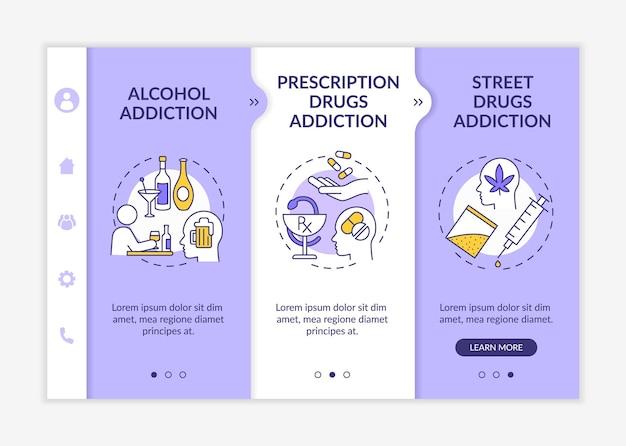 Modèle vectoriel d'intégration des types de dépendance. site web mobile réactif avec des icônes. présentation de la page web en 3 étapes. concept de couleur de dépendance à l'alcool avec des illustrations linéaires