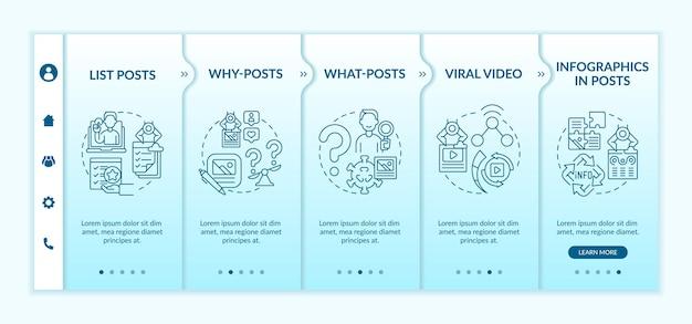 Modèle vectoriel d'intégration des types de publications les plus engageants. site web mobile réactif avec des icônes. écrans de présentation de page web en 5 étapes. vidéo virale, pourquoi et quoi publie un concept de couleur avec des illustrations linéaires