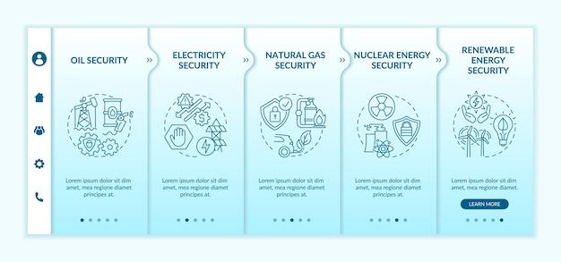 Modèle vectoriel d'intégration des types de sécurité énergétique. site web mobile réactif avec des icônes. écrans de présentation de page web en 5 étapes. énergie renouvelable, concept de couleur de gaz naturel avec illustrations linéaires