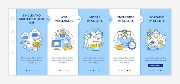 Modèle vectoriel d'intégration des types de services de messagerie instantanée. site web mobile réactif avec des icônes. écrans de présentation de page web en 5 étapes. logiciel pour discuter du concept de couleur avec des illustrations linéaires