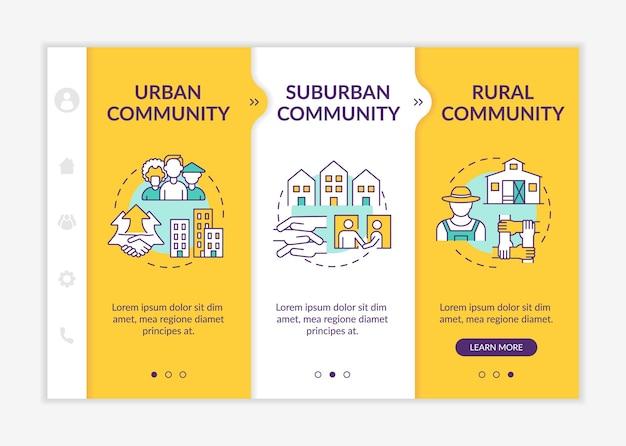 Modèle vectoriel d'intégration des types d'unités sociales. site web mobile réactif avec des icônes. présentation de la page web en 3 étapes. concept de couleur des communautés urbaines et suburbaines avec des illustrations linéaires