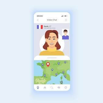 Modèle vectoriel d'interface de chat vidéo pour smartphone. disposition de conception de page d'application mobile. écran de rencontre. se faire des amis dans le monde entier. explorez le monde et voyagez virtuellement. interface utilisateur plate pour l'application. affichage du téléphone