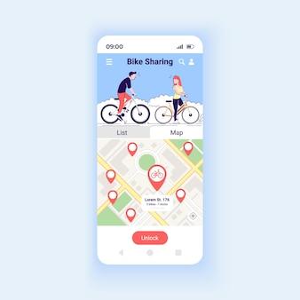 Modèle vectoriel d'interface de smartphone d'application de partage de vélo