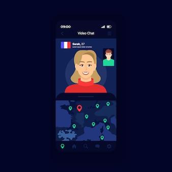 Modèle vectoriel d'interface de smartphone de chat en direct