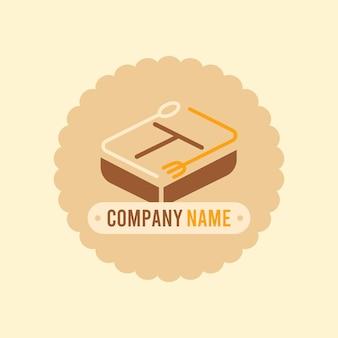 Modèle vectoriel de logo de boîte à lunch brun avec cuillère et fourchette sur fond crème clair