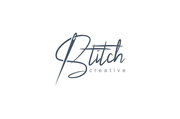 Modèle vectoriel de logo de couture. illustration de conception de logo simple et minimaliste aiguille à coudre