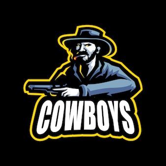 Modèle vectoriel de logo de dessin animé mascotte cowboyesport