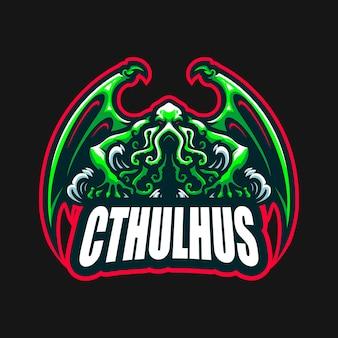 Modèle vectoriel de logo de dessin animé de mascotte de cthulhu esport