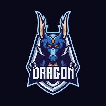 Modèle vectoriel de logo de dessin animé mascotte dragon esport