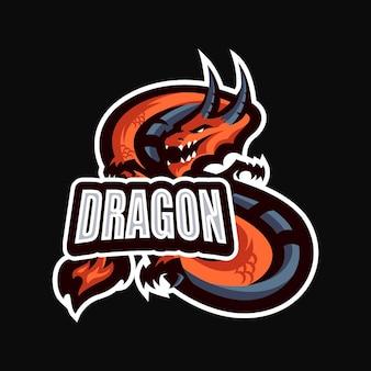 Modèle vectoriel de logo de dessin animé mascotte dragonesport