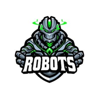 Modèle vectoriel de logo de dessin animé de mascotte esport robot