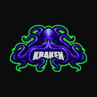 Modèle vectoriel de logo de dessin animé de mascotte kraken esport