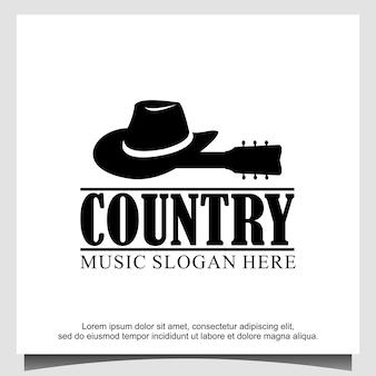 Modèle vectoriel de logo de guitare de cowboy