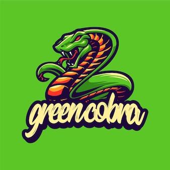 Modèle vectoriel de logo de mascotte cobra vert