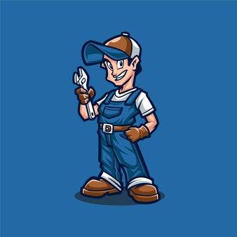 Modèle vectoriel de logo de mascotte homme mécanicien