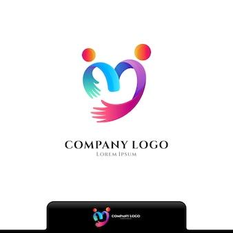 Modèle vectoriel de logo de soins de personnes