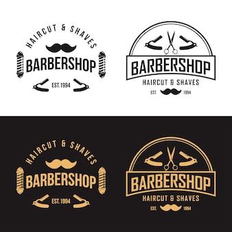 Modèle vectoriel de logo vintage barbershop