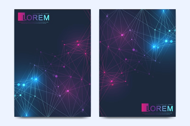 Modèle vectoriel moderne pour brochure dépliant dépliant annonce couverture catalogue magazine ou rapport annuel géo...