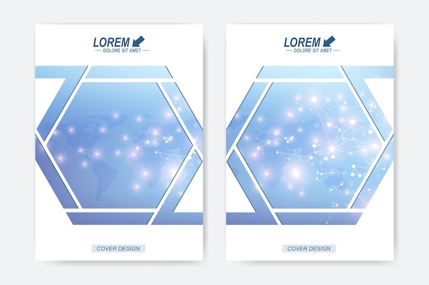 Modèle vectoriel moderne pour brochure, dépliant, dépliant, couverture, brochure, magazine ou rapport annuel. molécule de fond géométrique et communication. structure de la molécule d'adn et concept de neurones.