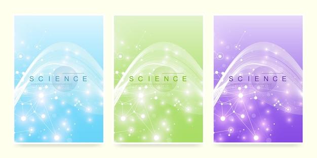 Modèle vectoriel moderne pour brochure, dépliant, dépliant, couverture, magazine ou rapport annuel. format a4 avec des molécules abstraites colorées. atomes. neurones. bannière médicale. illustration vectorielle.