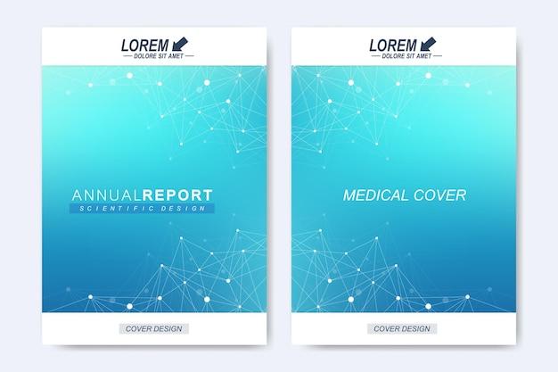 Modèle vectoriel moderne pour brochure dépliant dépliant couverture magazine ou rapport annuel mise en page moléculaire i...