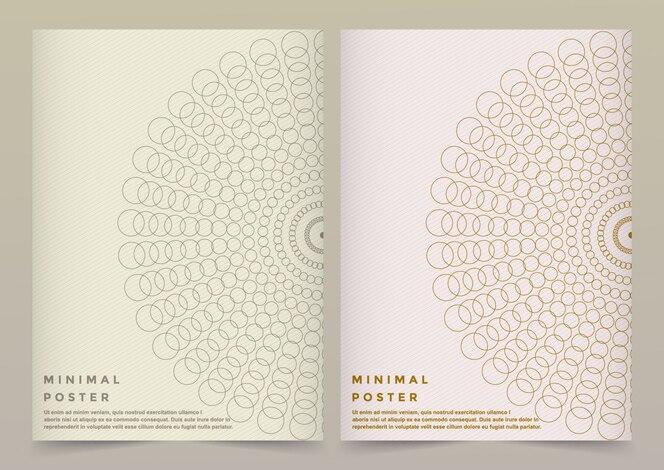 Modèle vectoriel moderne pour brochure, dépliant, flyer, couverture, bannière, catalogue, magazine ou rapport annuel au format a4. conception scientifique et technologique futuriste. présentation en or avec mandala.