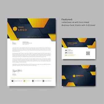 Modèle vectoriel de papier à en-tête et carte de visite créatif professionnel
