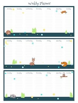 Modèle vectoriel de planificateur hebdomadaire avec des animaux endormis