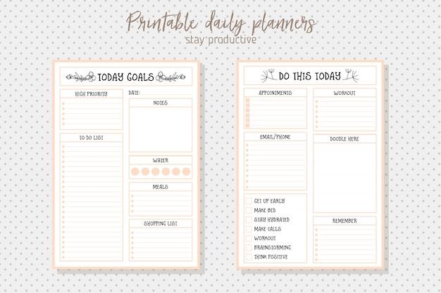 Modèle vectoriel de planificateur quotidien de style propre. design de papeterie