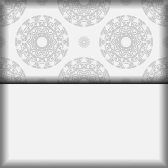 Modèle vectoriel pour cartes postales de conception d'impression couleurs blanches avec des motifs de mandala noirs. préparation d'une invitation avec une place pour votre texte et ornement grec.