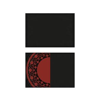 Modèle vectoriel pour les cartes postales de conception d'impression dans des couleurs noir-rouge avec des motifs de luxe. préparer une invitation avec une place pour votre texte et vos ornements vintage.