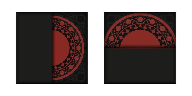 Modèle vectoriel pour les cartes postales de conception d'impression dans des couleurs noir-rouge avec des ornements luxueux.