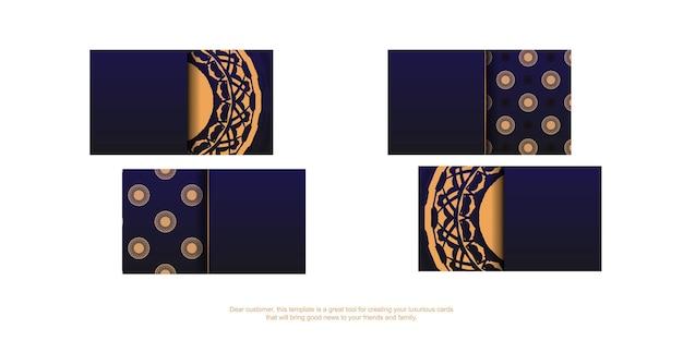 Modèle vectoriel pour la conception de cartes de visite de couleur bleue avec des motifs de luxe. préparer une carte de visite avec une place pour votre texte et vos ornements vintage.