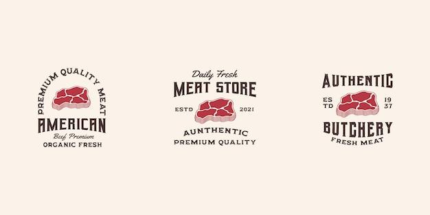Modèle vectoriel premium de logo de viande fraîche, magasin de viande, logo de boeuf, steak house, steak de boeuf