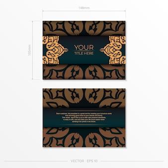 Modèle vectoriel présentable pour carte postale de conception d'impression en couleur vert foncé avec ornement arabe. préparation d'une carte d'invitation avec des motifs vintage.