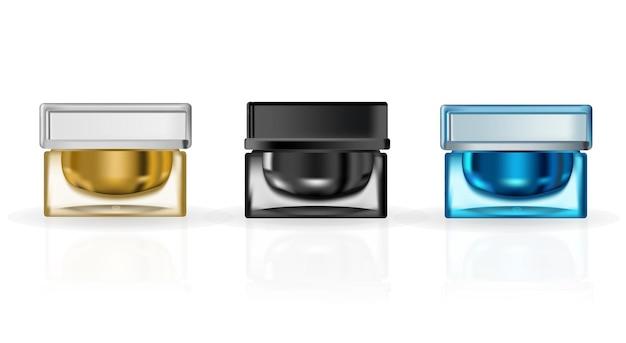 Modèle vectoriel publicitaire de paquet cosmétique pour la crème pour le visage bb ou la crème hydratante pour le teint