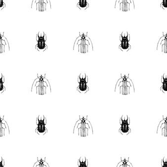 Modèle vectoriel sans soudure étirée à la main vintage vector avec scarabée, bug, dor, dorr, insecte sur fond blanc. illustration rétro