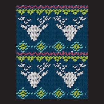 Modèle vectoriel de vacances tricot lumineux d'hiver sans soudure