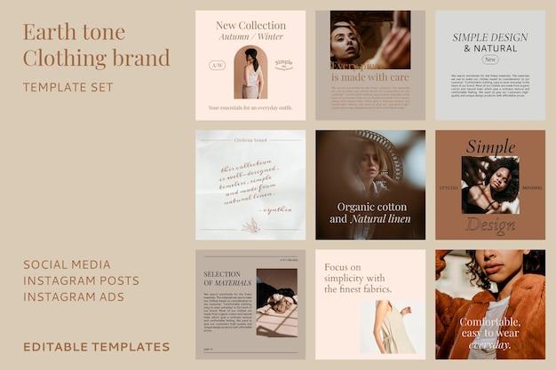 Modèle vectoriel de vente de médias sociaux de mode présentant une collection de promotion de vêtements pour femmes automne/hiver