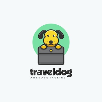 Modèle vectoriel de voyage chien concept illustration